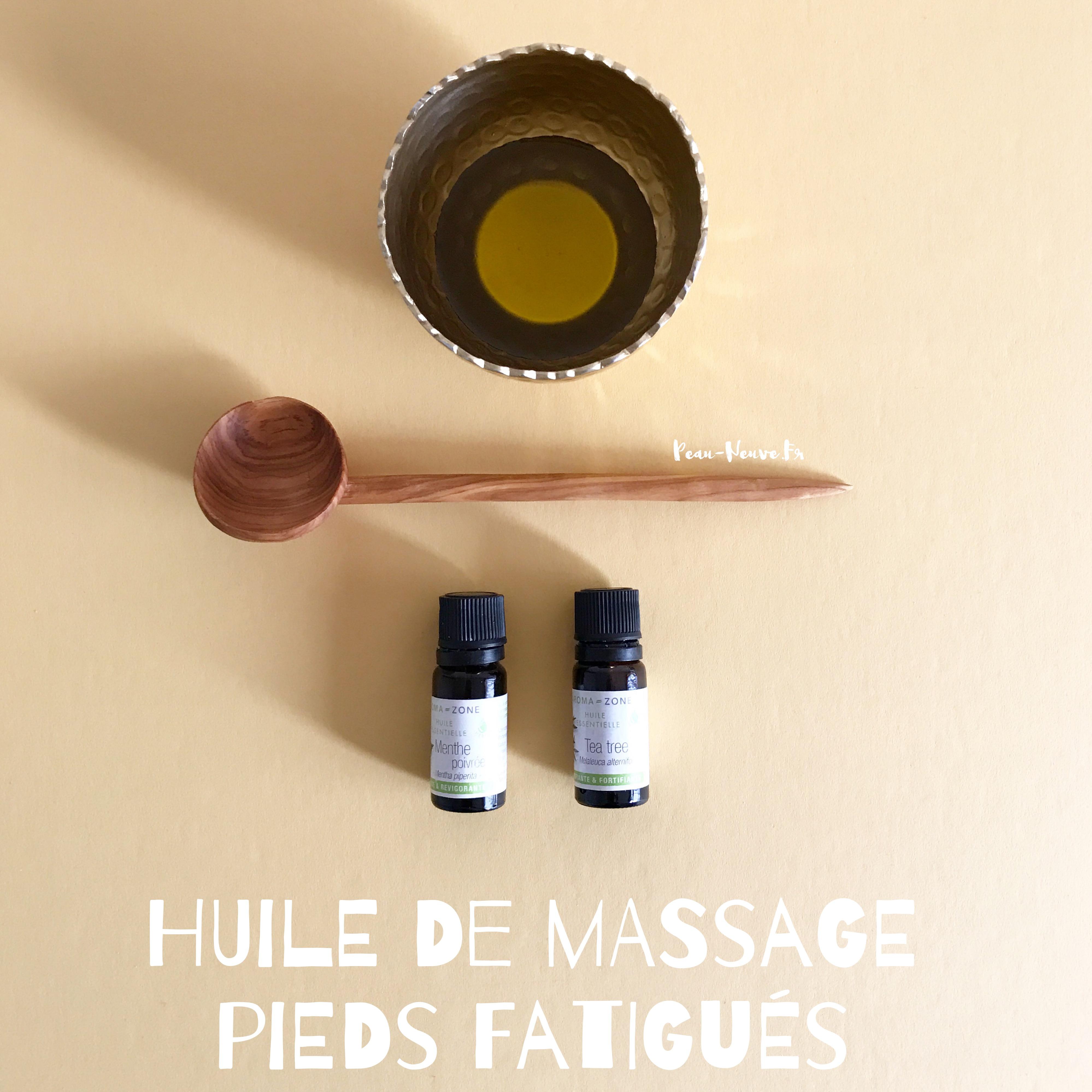 Huile de massage pour les pieds fatigués