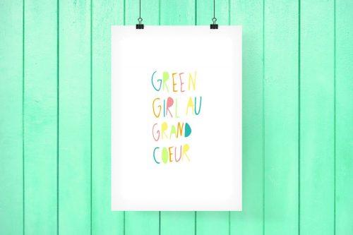 GREEN GIRL AU GRAND COEUR #PRINTABLE