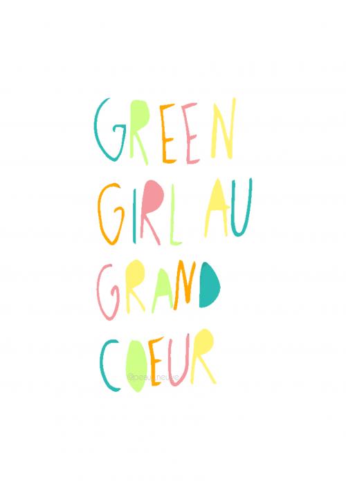 affiche green girl au grand coeur filigramme