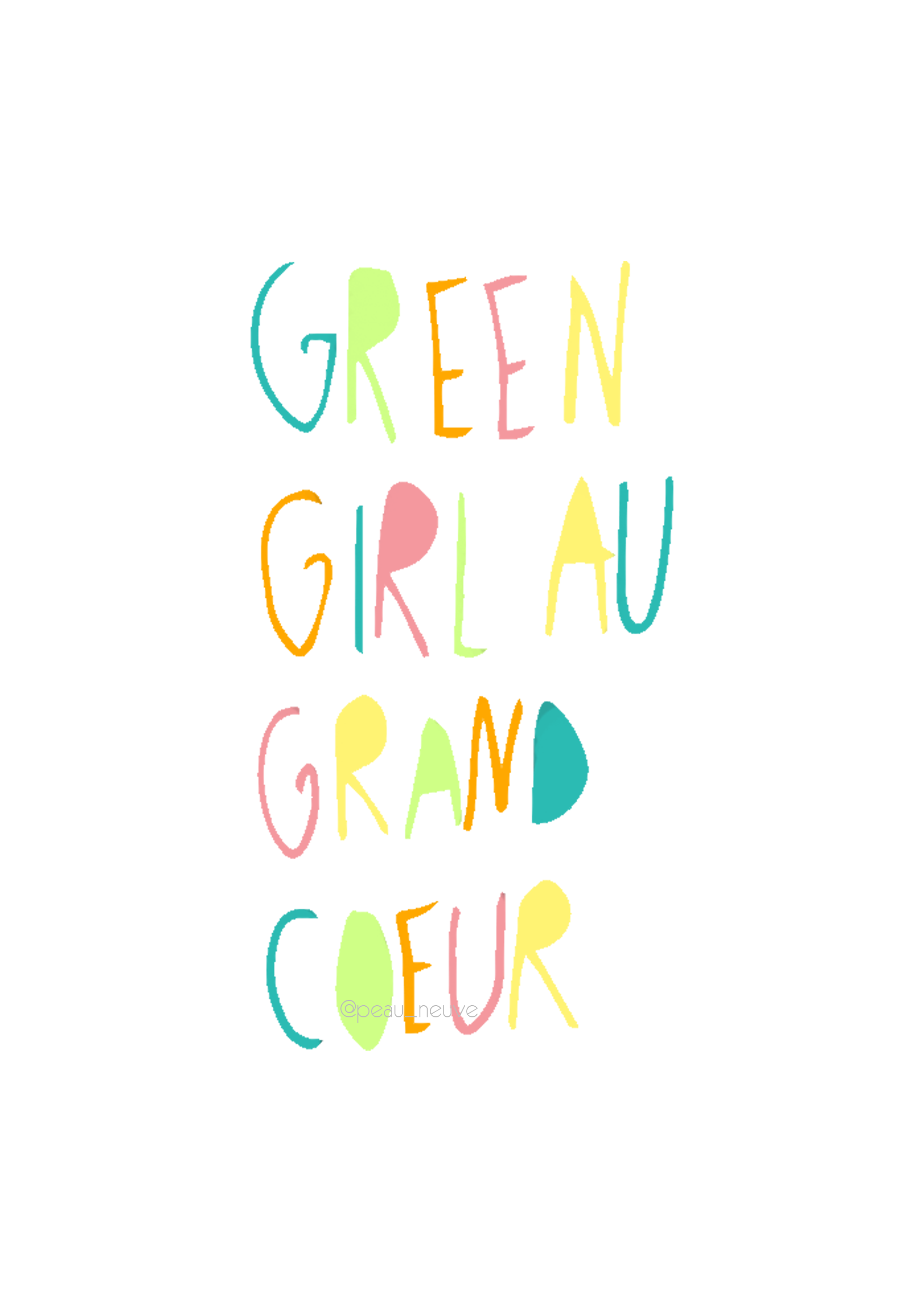 affiche green girl au grand coeur filigramme