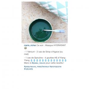 Masque hydratant spiruline