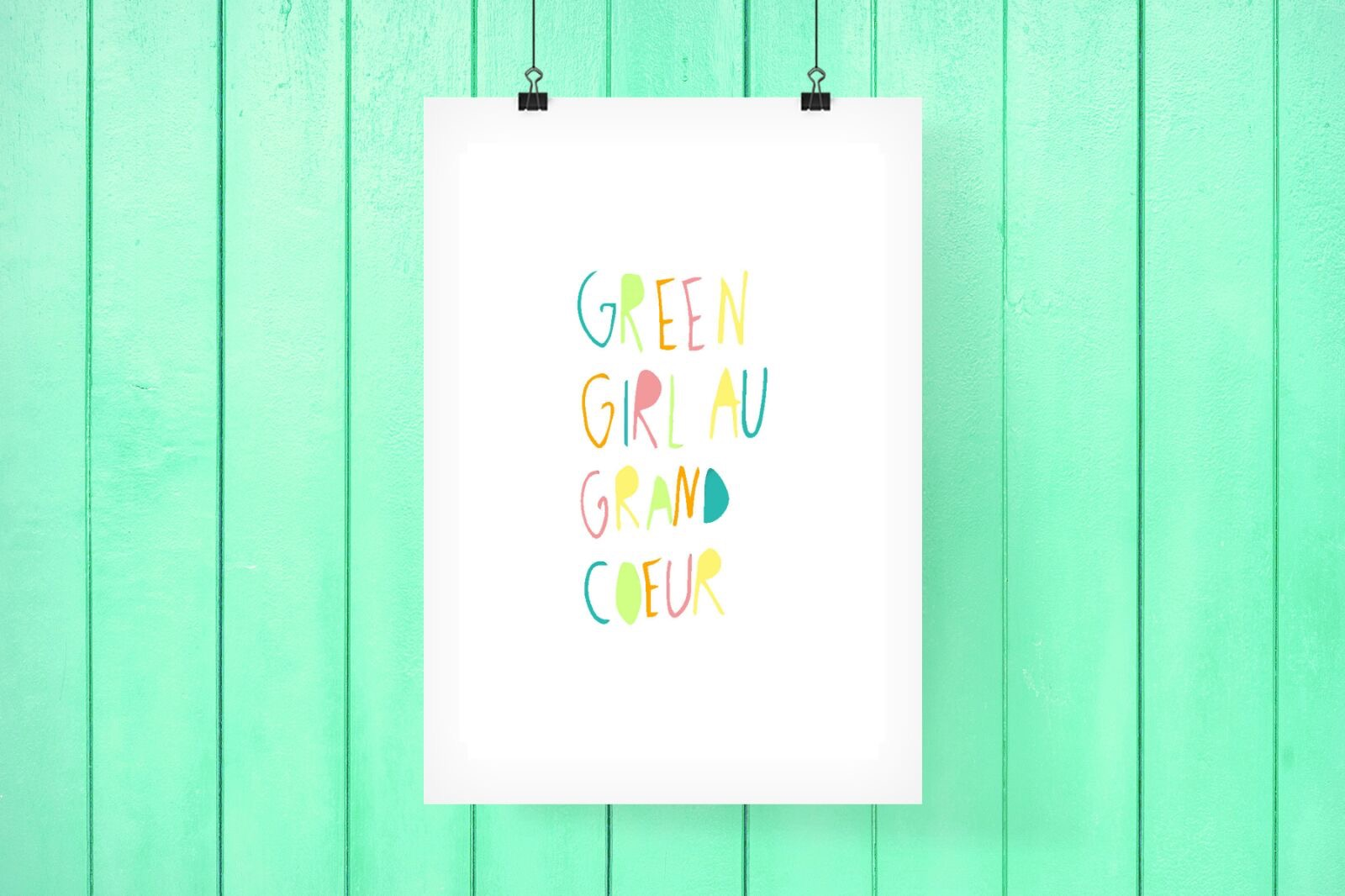 GREEN GIRL AU GRAND COEUR #PRINTABLE