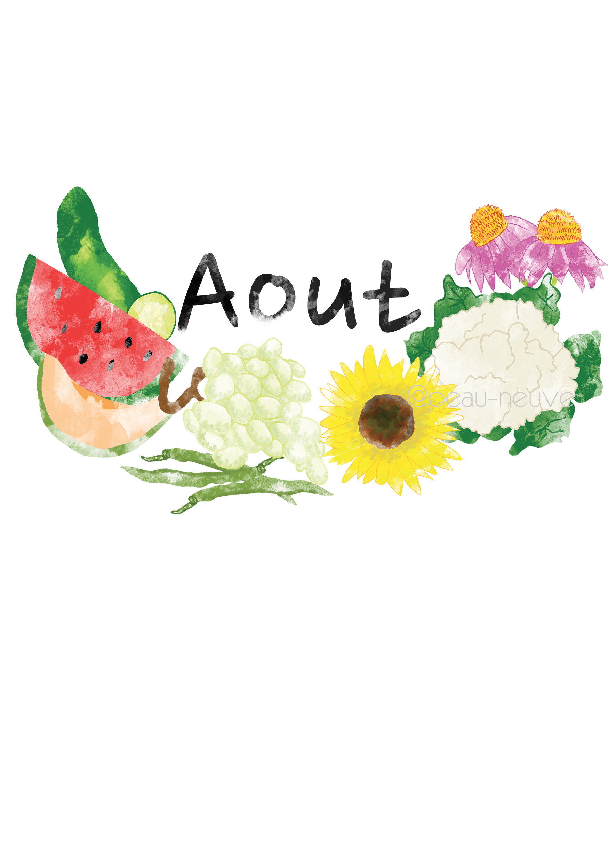 Le mois d'aout - illustration - printable