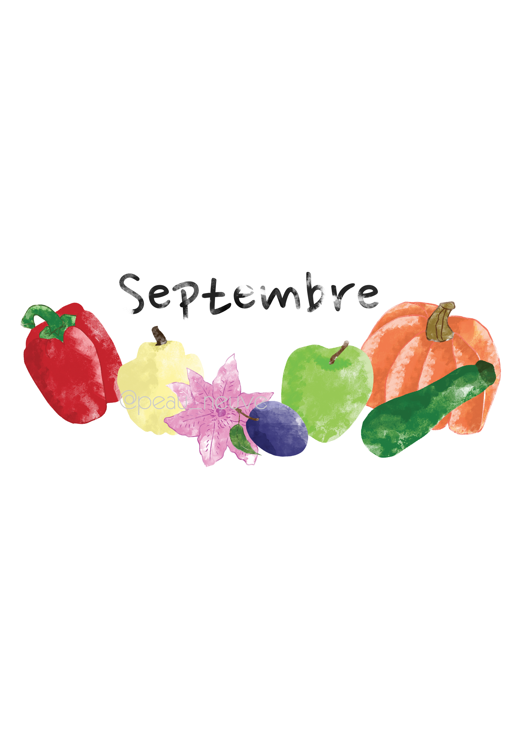 Le mois de SEPTEMBRE - illustration - printable